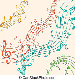 Vector Background with Colorful Music notes - Vector...