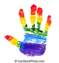 handprint with the colors of the rainbow flag - a handprint...