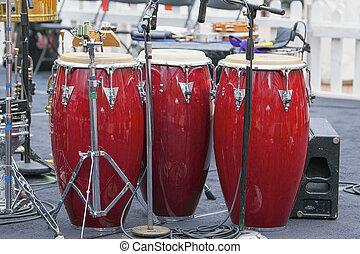 trío, rojo, conga, tambores