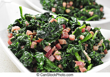 spanish espinacas con jamon, spinach with ham - some bowls...