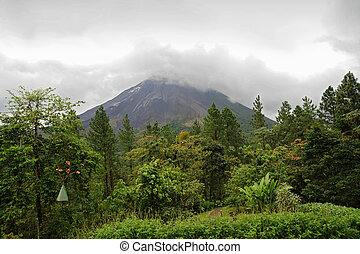 Arenal volcano in overcast day