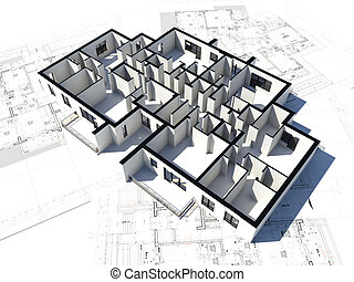 3D image of a floor plan and some blueprints