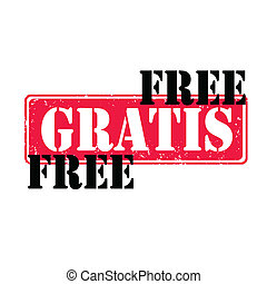 Gratis free rubber stamp with red and black,vector...