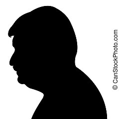 hombre, cabeza, silueta, vector