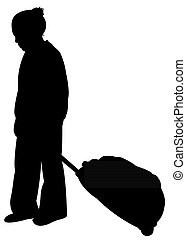 girl carrying luggage silhouette