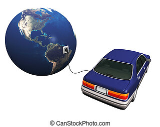 Electric car plugged in to earth, charging its batteries -...