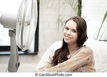 happy and smiling woman sitting near ventilator - home...