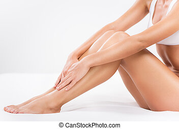 Body care - Bodycare of female Smooth legs.