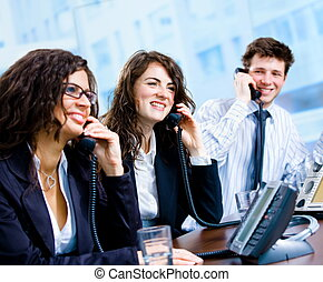 Customer Service - Happy team of customer service operators...