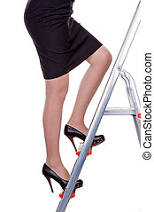 manager on career ladder - a woman in management climbing...