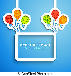 Happy birthday colorful applique background Vector...
