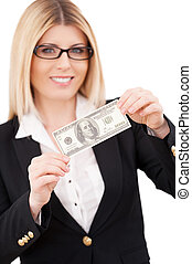Payday Confident mature businesswoman stretching out hands...