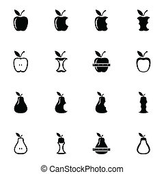 Vector black apple and pear icons set on white background