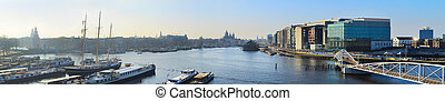 Amsterdam skyline - Aerial panorama of Amsterdam old town at...
