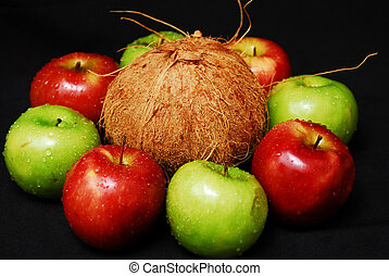 Colorful fresh group of fruits. Black background.