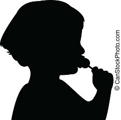a child eating candy silhouette vector