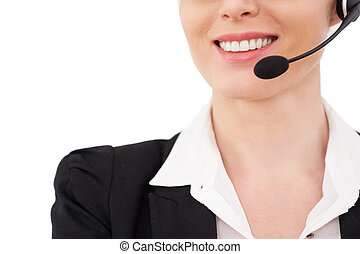 Female operator. Cropped image of confident mature customer...