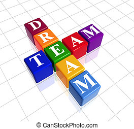 colour dream team - 3d colour boxes with text - dream team,...