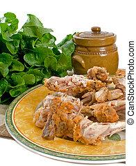 Chicken Bones After Meal - Left over chicken bones from...