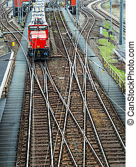 shunting in vienna - freight trains on a shunting station in...