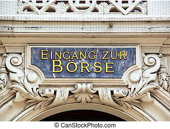 sign at the entrance of the stock exchange