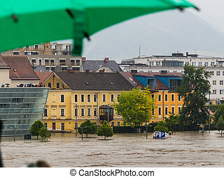 flood, 2013, linz, austria - flood of 2013 linz, austria...