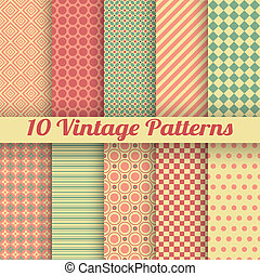 Vintage different vector seamless patterns (tiling) - 10...