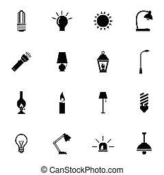 Vector black light icons set on white background