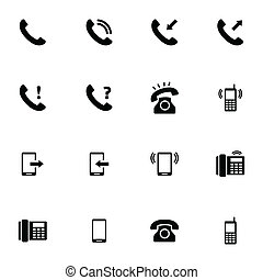 Vector black telephone icons set on white background
