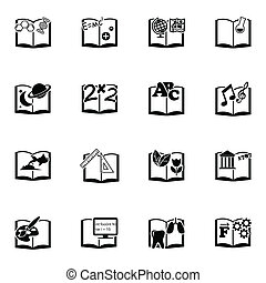 Vector black schoolbooks icon set on white background