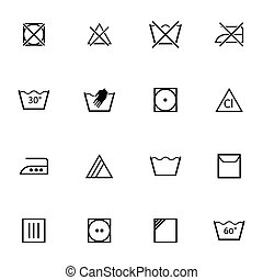 Vector black washing icons set on white background