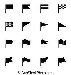 Vector black flag icons set on white background
