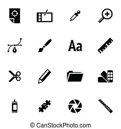 Vector black  graphic design  icons set on white background