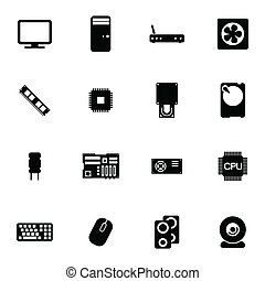 Vector black  PC components  icons set on white background