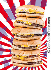 American burgers - a very tall pile of cheesburgers...