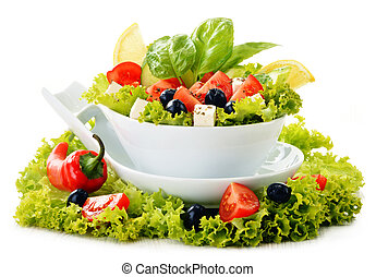 Vegetable salad bowl isolated on white background