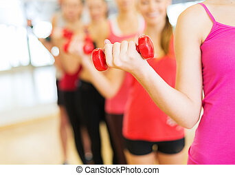 group of people working out with dumbbells in gym - fitness,...