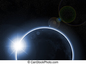 a solar eclipse with the moon - A solar eclipse occurs when...