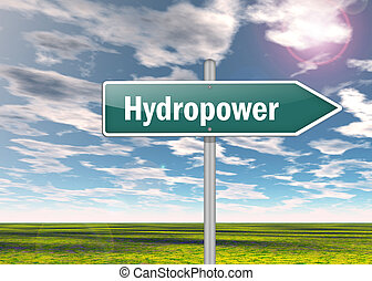 Signpost Hydropower - Signpost with Hydropower wording