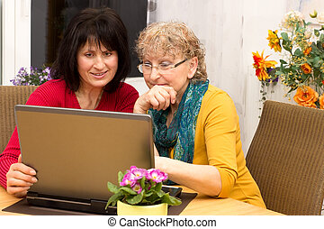 Concept new technology - Young woman explains a pensioner...