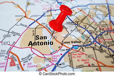 San Antonio - Closeup of a San Antonio map with tack...