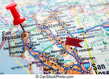 Silicon Valley - Map of the Silicon Valley section of...