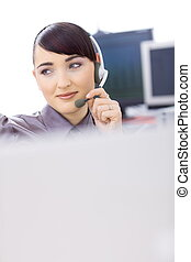 Customer service operator - Happy young female customer...