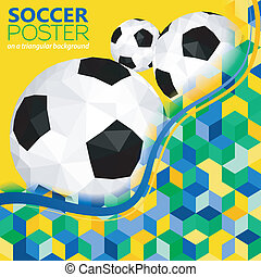 Soccer Background with Balls and Mosaic Pattern in Color...