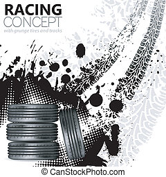 Racing Concept - Tires and Tracks, grunge vector background