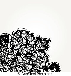 Black vector lace corner - Vector ornament. Black lace...