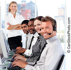 People working in a call centre - Young People working in a...