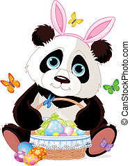 Cute Panda with Easter basket - Cute Easter Panda holding...