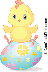 Easter chick - Cute chick sitting on Easter egg