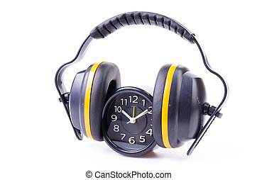 Ear phones , clock on isolated white background